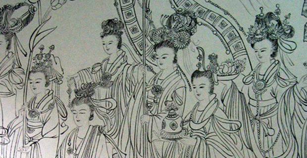 """十米长卷白描《八十七神仙卷》局部  Painting part of """"87 Immortals volume"""""""