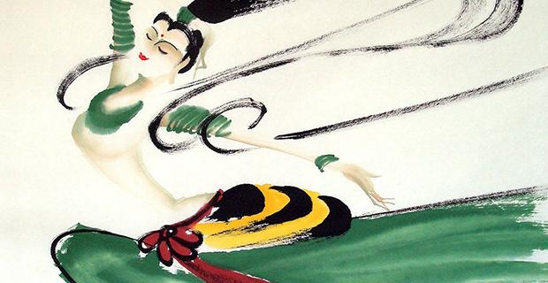 焦墨大写意《敦煌飞天》Painting dunhuang apsaras